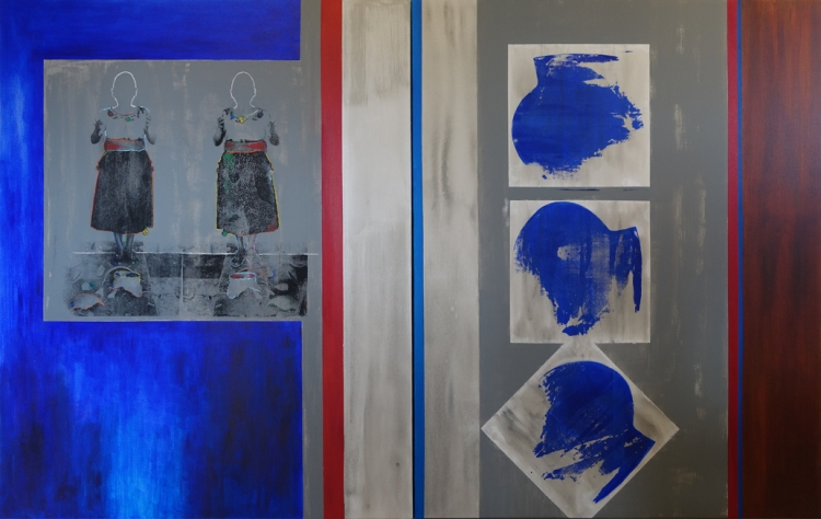 Colliding (diptych) silkscreen + acrylic on canvas; 150cm x 240cm; 2014