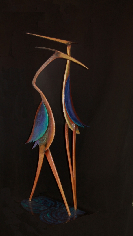 Two Herons Forged, fabricated, and painted aluminium; 110cm x 26cm x 26cm; 2010